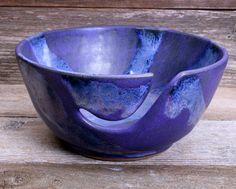 Blue Lapis Purple Satin Yarn Bowl Hand Thrown by Hurricane Pottery - available through custom order #yarnbowl #knitting #crochet