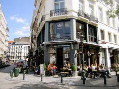 Neighborhood, Brussels   historic sidewalk cafe