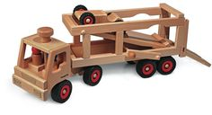 Fagus Wooden Car Transporter is a steerable vehicle which comes complete with a wooden car (speedy, also sold seperately) and 3 figures