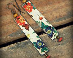 Vintage Tin Earrings, Bohemian Dangle Earrings, Gypsy Dangle Earrings, Upcycled Jewelry, Hippie Earrings, Handmade Recycled Tin Earrings