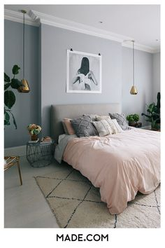 Millennial pink linen bed spread with textured cushions scattered, complemented by neutral, soft grey walls and art print. Step inside the South West London Home of Sommer Pyne to see more interior inspiration. Gray Bedroom Walls, Room Ideas Bedroom, Bedroom Colors, Home Decor Bedroom, Pink Gray Bedroom, Light Gray Bedroom, Light Grey Walls, Blush Grey Copper Bedroom, Bedroom Wall Texture