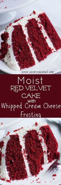 Red Velvet Cake and Whipped Cream Cheese Frosting This red velvet cake is super moist and it has such a light and fluffy homemade cream cheese frosting.This red velvet cake is super moist and it has such a light and fluffy homemade cream cheese frosting. Köstliche Desserts, Delicious Desserts, Dessert Recipes, Yummy Food, Frosting Recipes, Holiday Desserts, Moist Cake Recipes, Layer Cake Recipes, Moist Cakes