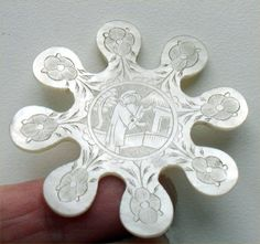 ANTIQUE GEORGIAN CHINESE MOTHER OF PEARL SNOWFLAKE THREAD WINDER C1800, maybe