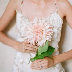 single dahlia bouquet - lovely but I would have thought it's difficult to carry. Dahlia Wedding Bouquets, Dahlia Bouquet, Blush Bouquet, Spring Bouquet, Floral Wedding, Wedding Flowers, Wedding Dresses, Dahlia Flower, Bridal Bouquets