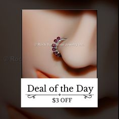 Today Only! $3 OFF this item.  Follow us on Pinterest to be the first to see our exciting Daily Deals. Today's Product: Beaded Silver Nose Ring Wrapped with Garnet Buy now: http://www.rockyournose.com/products/beaded-silver-nose-ring-wrapped-with-garnet?utm_source=Pinterest&utm_medium=Orangetwig_Marketing&utm_campaign=Wrap%20Me
