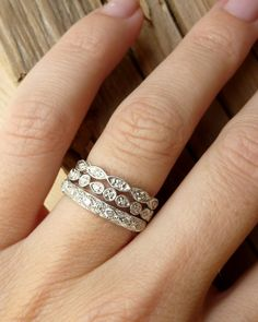 I eventually want to get an anniversary ring like this to go with my wedding and engagement rings!