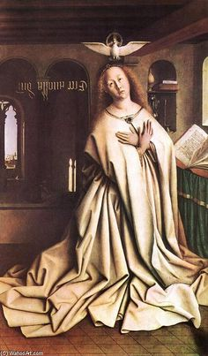 Learn more about The Ghent Altarpiece- Mary of the Annunciation 1432 Jan Van Eyck - oil artwork, painted by one of the most celebrated masters in the history of art. Jan Van Eyck, Robert Campin, Angelus, Ghent Altarpiece, Renaissance Kunst, Mystique, Dutch Painters, Madonna And Child, Sacred Art