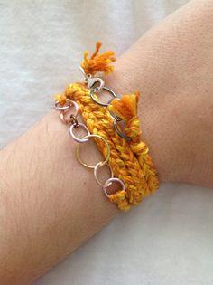 Grown Up Friendship Bracelet-Shades of Yellow, Gold, Orange READY TO SHIP. $7.00, via Etsy.