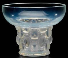 Lalique Vase Beautreillis c 1927 ~ opalescent glass undecorated bowl shaped upper section w/ nearly oval cabochons around the lower half