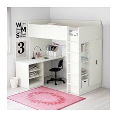 STUVA Loft bed with 2 shelves/2 doors, white - Twin - IKEA
