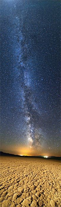 The Milky Way over the two small towns of Gerlach and Empir