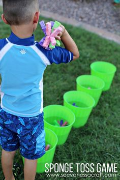 DIY Sponge Toss Game for Kids - fun summer activity!