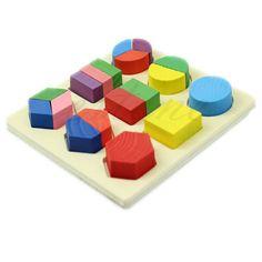 Envío Gratis Para Niños de Madera de Aprendizaje Temprano Montessori Juguete Educativo Rompecabezas Geometría