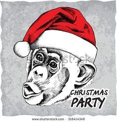 Monkey portrait in Santa's hat. Vector illustration.