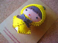 Hand sewn felt brooch(pretty raincoat). $15.00, via Etsy.