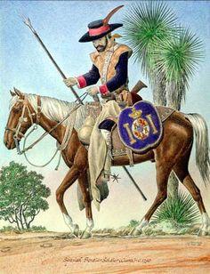 Re: Comanches (Cuerno Verde) contra Españoles. /// Soldado de cuera a caballo con todo su equipo, lanza, adarga, escopeta, espada y pistolas. Se trata de una representación bastante fiel, salvo mínimos detalles.