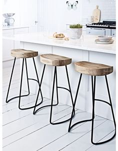 Kitchen Stools & Chairs, Wooden & Rattan Kitchen Bar Stools with Backs
