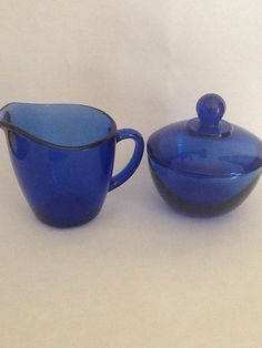 Vintage Anchor Hocking Cobalt Blue Cream and Sugar Set
