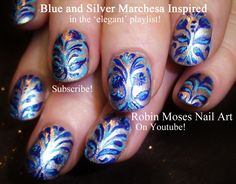 Nail Art Tutorial | DIY Damask Nails! | Royal Blue Marchesa Print Nail D...