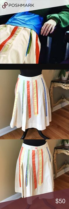 "Anthropologie Telephone Skirt By Lithe  4 NWOT Anthropologie Telephone Skirt By Lithe  4 NWOT.   This pleated Cotton Skirt Has never been worn. Features little Bright Ribbons. Side zipper.  Measurements appropriately 14 3/8"" Waist 22 1/4"" length 🚫trades. Please ask all questions prior to buying Anthropologie Skirts Midi"