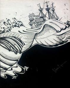 Original art by gloria e. Out at Sea. Ship. Pen.