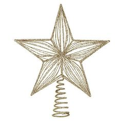 Kurt Adler 6 1 4 Inch Gold Wire Star Tree Topper  - Christmas Tree Star