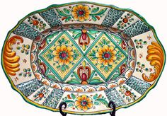 Hand-painted ceramic oval plate from Spain Glazes For Pottery, Pottery Bowls, Ceramic Pottery, Ceramic Tableware, Ceramic Bowls, Ceramic Painting, Ceramic Art, Spanish Art, Decal
