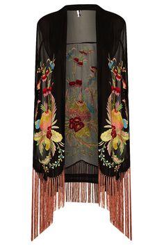 Topshop floral kimono bordado en Negro | Lyst http://www.lyst.com/clothing/topshop-floral-embroidered-kimono-black/ ME GUSTA