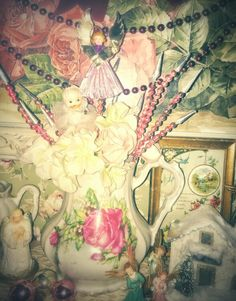 A shabby chic pink Christmas, roses, angels...photo by Julie Cruzan