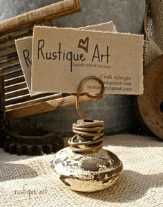 Vintage Door Knob Photo Holder very Rustic by rustiqueart on Etsy