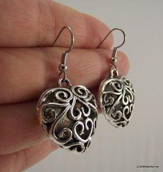 DIY Puffed Silver Filigree Heart Earrings Silver by JSWMetalWorks, $24.00