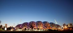 AAMI park in Melbourne. Lights up skyline each night with LEDs