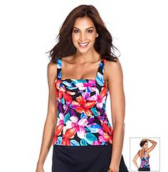 Swimsuits. Get in the island escape spirit with this tankini top from Caribbean Joe that features a unique, pleated neckline and a fun allover floral print. To ensure the perfect fit, Caribbean Joe tops and bottoms are sold separately. Featured in black Top sold separately Tankini style top Squared neckline Tank straps Soft cups Partially lined Pleated detail at neckline Hand wash Line dry Lining: polyester Nylon/spandex Imported #spandex #coupons #swimwear