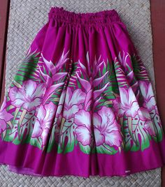 Bight pink woman's hula pa'u skirt by SewMeHawaii on Etsy