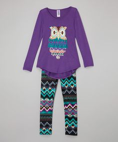 Loving this Purple Owl Tunic & Tribal Leggings - Toddler & Girls on #zulily! #zulilyfinds