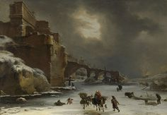 Stadswal in de winter, Willem Schellinks, ca. 1650 - ca. 1670