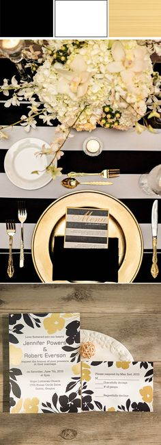 fabulous gold and black wedding ideas and wedding invitations