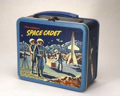 """Vintage Space Cadet Lunchbox, made in 1954 by Aladdin Industries. """"For those of you who are too young to remember, Tom Corbett was a science fiction character from a TV series. Lunch Box Thermos, Tin Lunch Boxes, Vintage Lunch Boxes, Metal Lunch Box, School Lunch Box, Whats For Lunch, Baby Boomer, Vintage Space, Atomic Age"""