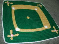 Home Run baby blanket crochet project from Crochet Today, March/April 2013 done without the baseball team name added.