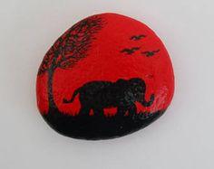 Elephant Stone Art Painting, Elephant Silhouette, Painted Rock, Red Elephant Tree Painting, Pebble Art, Hand Painted Elephant, Miniature Art