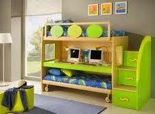 Inspiring Kids Loft Bed Design Ideas : Unique Bunk Beds Design In Green For Kids Loft Bed Double Loft Beds, Modern Bunk Beds, Modern Loft, Modern Kids, Modern Bedroom, Girls Room Design, Bunk Bed Designs, Bedroom Designs, Kids Bedroom Furniture