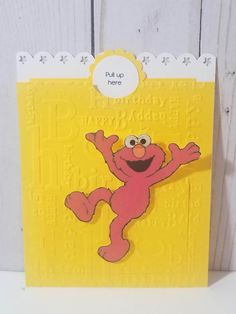 Sesame street Elmo pull up invitation. Invitation is sized, lays flat in envelope. When tab is pulled invitation folds to reveal party details and Elmo stands. Hello Kitty Invitations, Elmo Birthday Invitations, Pregnancy Journal, Handmade Invitations, Name Design, Invitation Set, Almost Always, Reveal Parties, I Am Happy