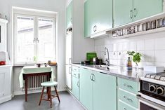 Mint green retro kitchen