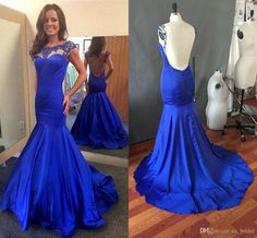 Sexy Backless Royal Blue Prom Dresses 2016 High Quality Bead Fashion Party Dress Evening Wear Formal Mermaid Real Evening Dress Custom Made Online with $102.02/Piece on Cc_bridal's Store | DHgate.com