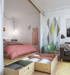 Best modern small apartment interior design and decoration ideas: Beautiful Bedroom Arrangement For 45 Square Meters Apartment Creative Bed Design Simple Space Saving Bed Design For Small Studio Apartment Furniture Organizing Ideas Interior Design, House Interior, Bedroom Storage, Interior, Bedroom Design, Home Decor, Tiny Bedroom, Home Bedroom, Studio Apartment Decorating