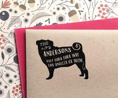 Custom Address Stamp - Pug Custom Return Address Stamp, customized gift for holidays, housewarming and weddings, school by MySplendidSummer on Etsy https://www.etsy.com/listing/244013294/custom-address-stamp-pug-custom-return