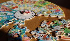 Zegar + okrągłe puzzle z rozkładem dnia - drewniane cudo do nauki czas i planowania <3