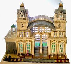 ~ Lego MOCs City ~ Train Station Lego Train Station, Lego City Train, Lego Trains, Old Building, Lego Building, Gare Lego, Legos, Lego Architecture, Chinese Architecture