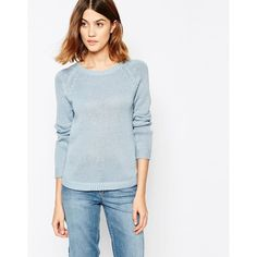 Vila Round Neck Long Sleeve Sweater ($27) ❤ liked on Polyvore featuring tops, sweaters, blue fog, raglan top, vila, blue sweater, metallic top and round neck top