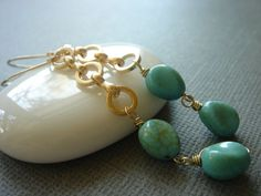 Vivid Turquoise 14k Gold Filled Earrings